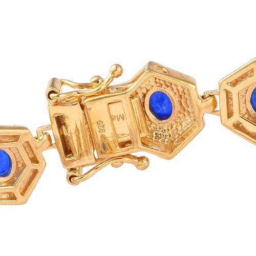Tanzanian Blue Spinel Enamelled Bracelet (Size 7) in 14K Gold Overlay Sterling Silver 6.00 Ct, Silver wt. 18.00 Gms