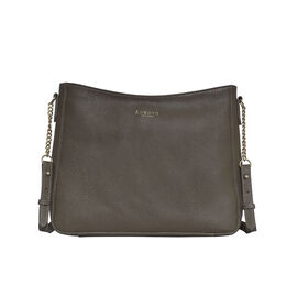Assots London LOUISA - 100% Genuine Leather Handbag with Shoulder Strap (30x7x24cm) - Olive Green