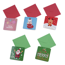 Set of 5 - Christmas Themes Pattern Colourful Greeting Cards with Envelopes (Size 7 Cm)