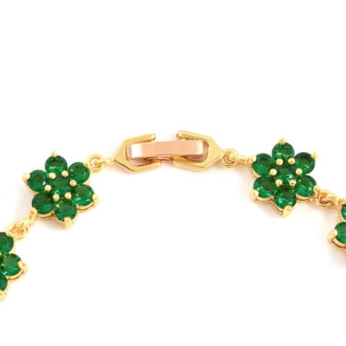 Simulated Emerald (Rnd) Floral Bracelet (Size 8) and Earrings in Yellow Gold Plated