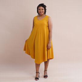 JOVIE 100% Viscose Solid Sleeveless Dress (Size 60x112Cm) - Yellow