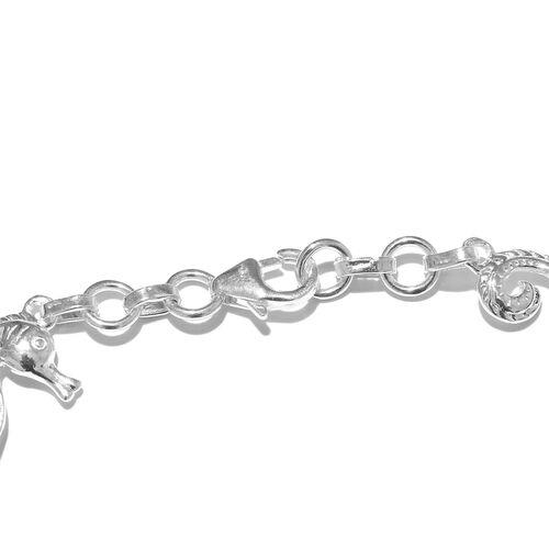 Vicenza Collection - Designer Inspired Sterling Silver Sea Horse Bracelet (Size 7.5), Silver wt 6.28 Gms.