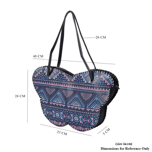 Butterfly-Shaped Water Resistant Tote Bag in Kaleidoscope Navy Print