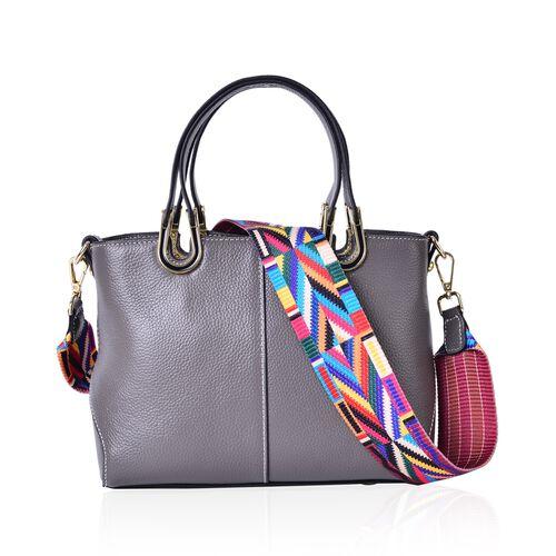 100% Genuine Leather Grey Colour Tote Bag with Multi Colour Removable Shoulder Strap (Size 24x19x11.5 Cm)