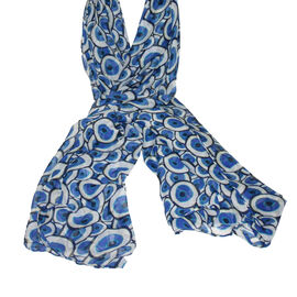 Lightweight Blue and White Bubble Print Scarf (160x85cm)