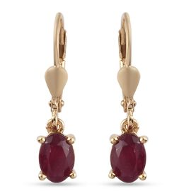 MP - African Ruby (FF) (Ovl) Lever Back Earrings in 14K Gold Overlay Sterling Silver 2.42 Ct.