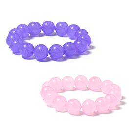 Set of 2 - Kunzite and Tanzanite Colour Quartzite (Rnd 13-15mm) Adjustable Bracelet (Size 7) 552.850 Ct.