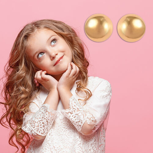 Ball Earrings for Children in Gold Plated Silver