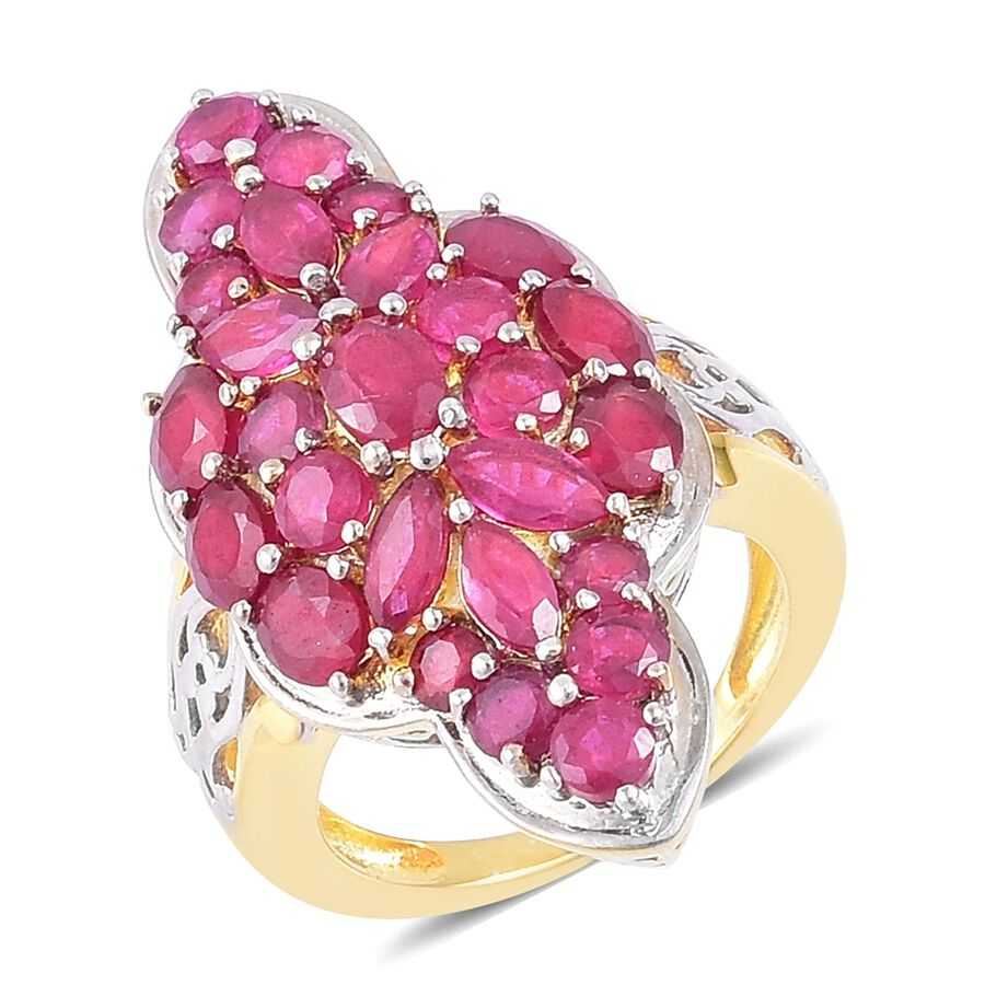 TJC Niassa Ruby Ring In Yellow Gold Plated Sterling Silver Cluster ...