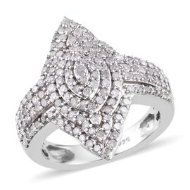 Diamond (Rnd) Cluster Ring in Platinum Overlay Sterling Silver 1.00 Ct, Silver wt 5.30 Gms,