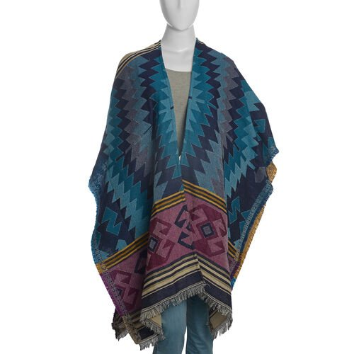 Italian Designer Inspired Navy, Black and Multi Colour Woven Poncho (Free Size)
