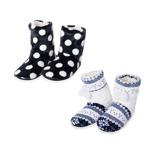 Set of 2 Pairs - Warm and Soft Black, Blue and White Colour Christmas and Polka Dot Pattern Faux Fur Booties with Sherpa Lining (Size 4 to 8)