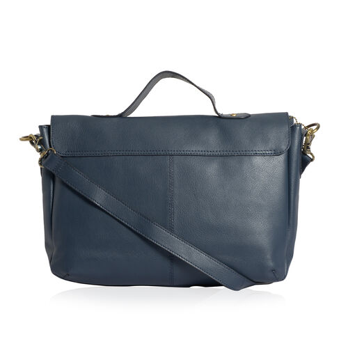 Genuine Leather Slate Blue Colour Satchel Bag with Removable Shoulder Strap (Size 35 X 25 X 8 CM)