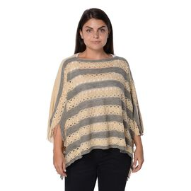 Stripe Pattern Knit Poncho with Simulated White Pearl and Tassel (Size 48x112x9 Cm) - Grey and Khaki