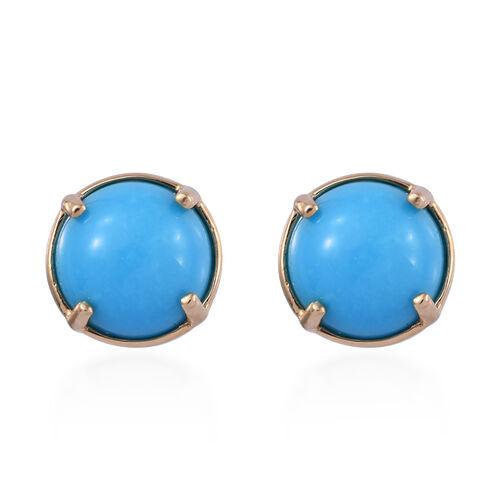ILIANA 3.7 Ct AAA Arizona Sleeping Beauty Turquoise Solitaire Stud Earrings in 18K Gold 1.23 Grams