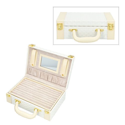White Colour Woven Pattern Briefcase Design Double Layer Jewellery Box with Mirror Inside (Size 27.5