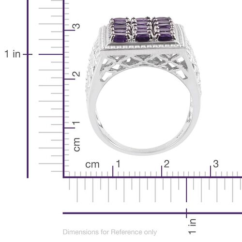Lusaka Amethyst (Rnd) Ring in Platinum Overlay Sterling Silver 3.500 Ct.