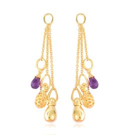 RACHEL GALLEY 3.62 Ct Amethyst Dangle Earrings in Gold Plated Sterling Silver 14.65 Grams