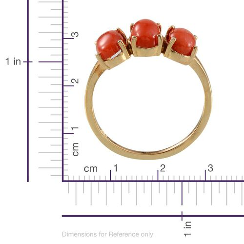 Natural Mediterranean Coral (Ovl) Ring in 14K Gold Overlay Sterling Silver 1.750 Ct.