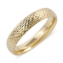 Surabaya Gold Collection- 9K Yellow Gold Diamond Cut Band Ring