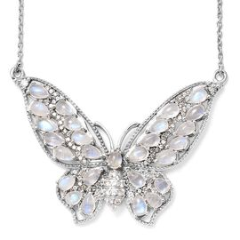 GP Rainbow Moonstone (Ovl and Pear), Natural Cambodian Zircon, Kanchanaburi Blue Sapphire Butterfly Necklace in Platinum Overlay Sterling Silver 7.750 Ct. Silver wt 11.62 Gms. Number of Gemstone 110