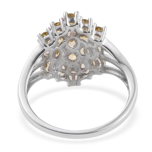 Tanzanian Scapolite (Ovl) Cluster Ring in Platinum Overlay Sterling Silver 2.750 Ct.