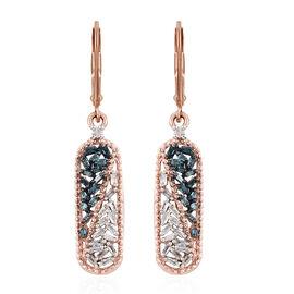 Blue Diamond (Bgt), White Diamond Lever Back Earrings in Rose Gold Overlay Sterling Silver 0.330 Ct