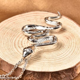 RACHEL GALLEY Venom Collection Black Spinel Snake Pendant with Chain (Size 30) in Rhodium Overlay Sterling Silver