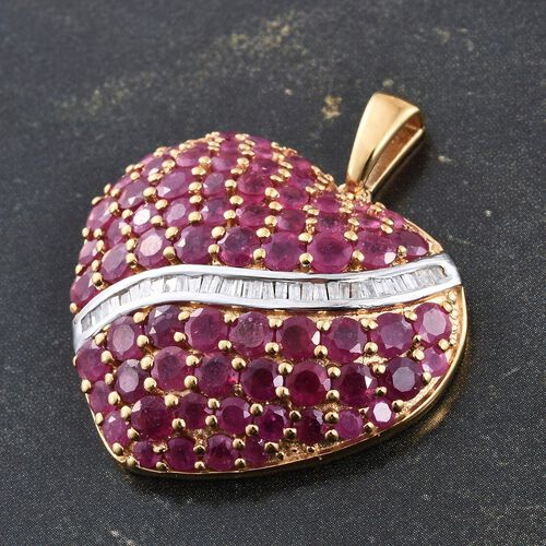 AAA African Ruby (Rnd), Diamond Heart Pendant in 14K Gold Overlay Sterling Silver 9.250 Ct. Silver wt 7.98 Gms.
