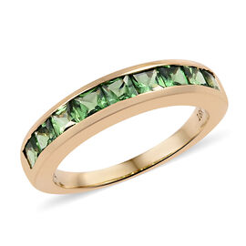 ILIANA 18K Yellow Gold AAAA Tsavorite Garnet (Princess) Half Eternity Ring 1.500 Ct.
