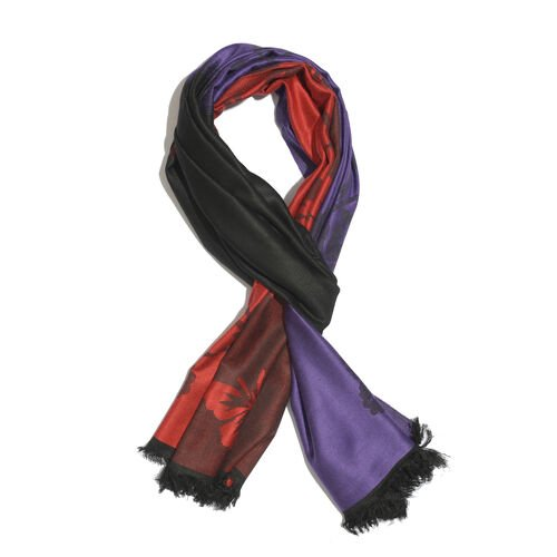 Purple, Red and Black Colour Floral Pattern Scarf with Fringes (Size 180x65 Cm)