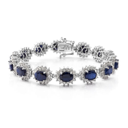 Madagascar Blue Sapphire (Ovl), Natural White Cambodian Zircon Bracelet (Size 7.75) in Rhodium Plated Sterling Silver 26.780 Ct. Silver wt 20.08 Gms. Number of Gemstone 210