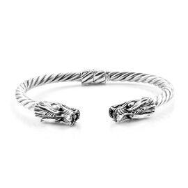 Royal Bali Collection Sterling Silver Dragon Bangle (Size 7.5), Silver wt 26.64 Gms
