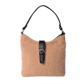 Faux Fur Shoulder Bag (26x24x5cm) with Clasp Closure - Camel Colour