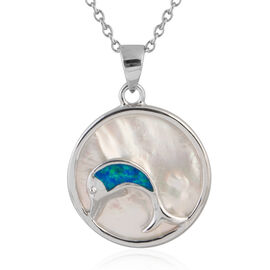 New Concept - Simulated Ocean Blue Opal and Mother of Pearl Dolphin Pendant With Chain (Size 20) in Sterling Silver.