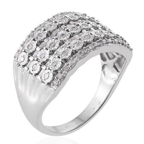 Designer Inspired- Diamond (Rnd) Ring in Platinum Overlay Sterling Silver 0.500 Ct.