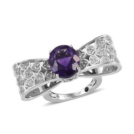 GP 5 Carat Lusaka Amethyst and Cambodian Zircon with Multi Gemstones Bow Design Ring in Silver