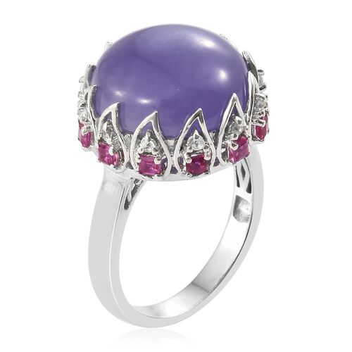 Purple Jade (Rnd 14.50 Ct), African Ruby and Natural Cambodian Zircon Ring in Platinum Overlay Sterling Silver 15.500 Ct. Silver wt 5.45 Gms.