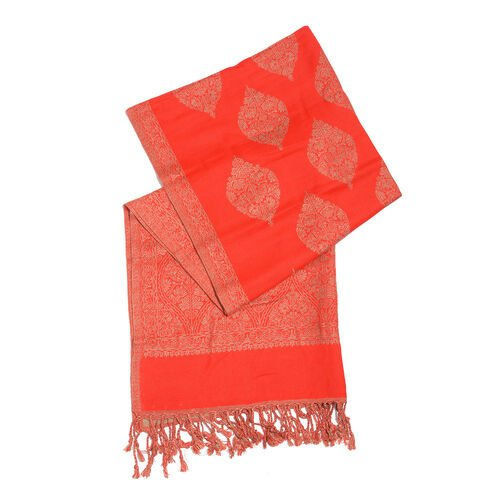 Red and Beige Colour Damask Pattern Reversible Jacquard Scarf with Tassels (Size 180X70 Cm)