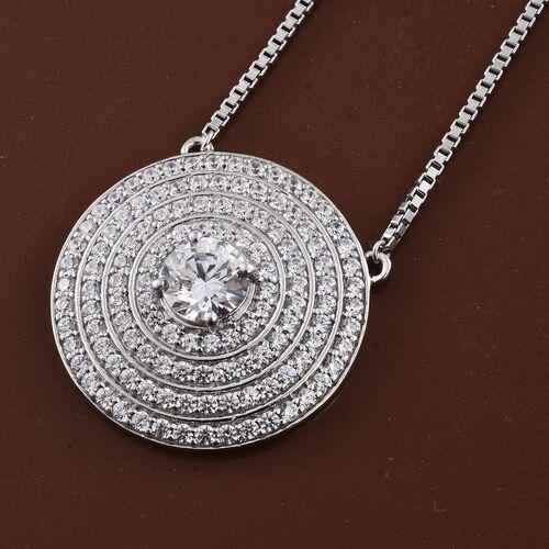 J Francis - Premium Collection Platinum Overlay Sterling Silver (Rnd) Adjustable Necklace (Size 18) Made with SWAROVSKI ZIRCONIA. Silver Wt 14.50 Gms Number of Swarovski 123 PCS