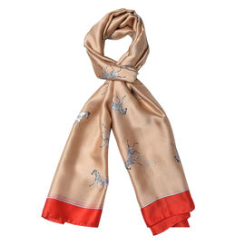 Champagne and Red Colour Zebra Pattern Scarf (Size 90x180 Cm)
