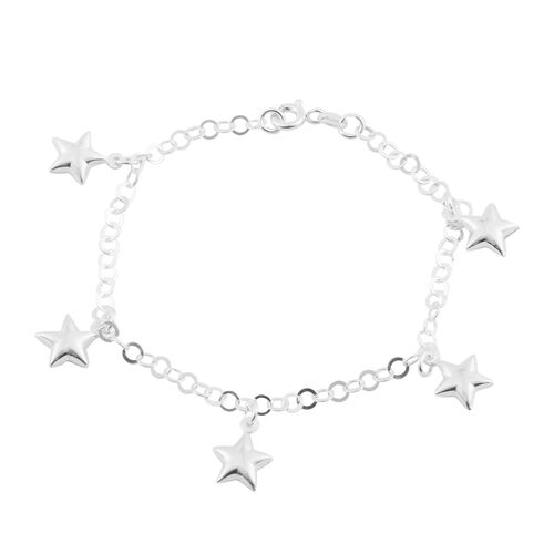 Sterling Silver Bracelet (Size 7.5) with Star Charms, Silver wt 3.90 Gms.