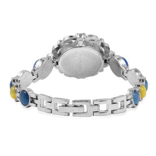 STRADA Japanese Movement Water Resistant Bracelet Watch Studded with Simulated Blue and Yellow Cats Eye and Austrian Crystal in Stainless Steel