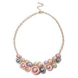 Simulated Pearl Necklace (Size 20 with 2 inch Extender) in Gold Tone