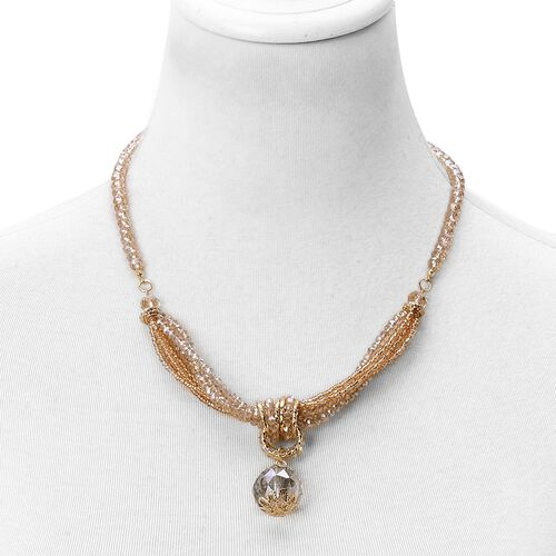 Simulated Champagne Diamond Multi Strand Necklace (Size 20 with 3 inch Extender) in Yellow Gold Tone