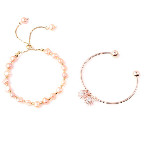 Set of 2 - Freshwater Peach Pearl, Simulated Diamond Bange (Size 7.5) and Adjustable Bolo Bracelet (Size 6-9.5) in Rose Gold Plated