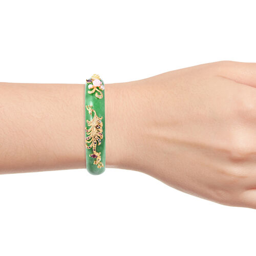 Extremely Rare-Green Jade and Multi Gemstone Peacock and Flower Bangle (Size 7.25) 292.84 Ct,