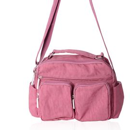 Pink Water Resistant Multi Pockets Crossbody Bag with Adjustable Shoulder Strap (Size 25x20x9.5 Cm)