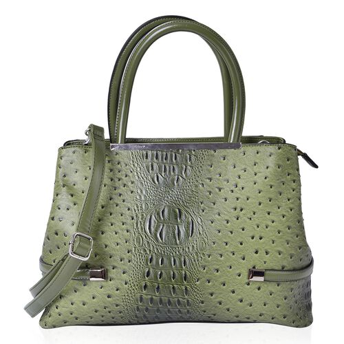 Designer Inspired-Olive Green and Black Colour Ostrich Embossed Tote Bag with External Zipper Pocket and Adjustable Shoulder Strap (Size 38X26.5X13 Cm)