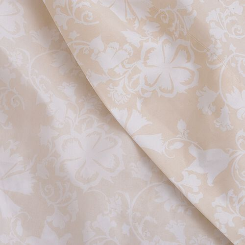 TJC Set of 2 - Beige and Cream Colour King Size- 2 Fitted Sheet (200x150x30 Cm), 2 Flat Sheet (275x265 Cm) and 4 Pillow Case (75x50 Cm) in Damask and Embroidery Pattern